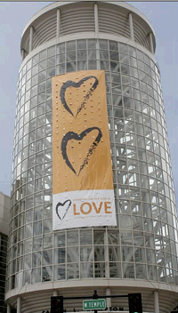 Standing on the Side of Love banner hanging on the Salt Palace